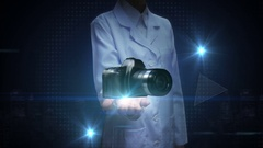 Female researcher, Engineer open palm, SLR camera. Stock Footage