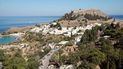 Landscape with the village of Lindos on the island of Rhodes; greece Stock Footage
