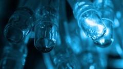 Twinkling garland lights. Close up macro Stock Footage