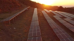 4K Aerial of Solar Park in sunset Stock Footage