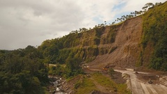 Landslide on the road in the mountains.Camiguin island Philippines Stock Footage