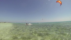 A man kite surfing on the Red Sea in Egypt, time-lapse. Stock Footage