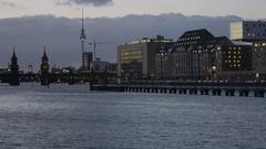 Berlin Panorama on Spree and Alex at Night Stock Footage