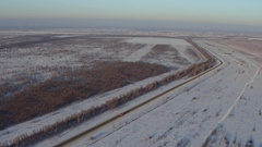 Snow-covered plain, top view, shot on quadrocopter Stock Footage