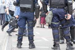 Police officers on duty. Counter-terrorism. Stock Photos