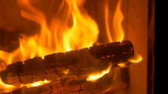 Fire Flames in Stove Stock Footage