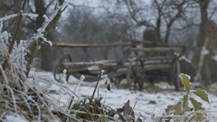 Ancient Cart Outdoor in Snow Stock Footage