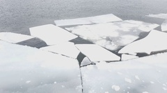 Ice floating on river in spring time. Stock Footage