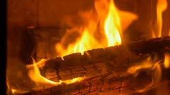 Burning Wood Fire in Stove Stock Footage