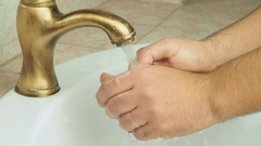 Man washing his hands Stock Footage