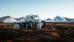 Mars expedition transport, mars rover. Base on alien planet. Realistic animation Stock Footage
