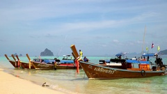 Boats and beach on a Thai island. Stock Footage