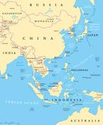 East Asia political map Stock Illustration