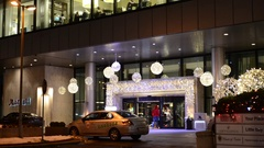 Taxis outside the hotel in the winter. Pre-Christmas time. Stock Footage