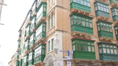 Valletta, Malta - green balconies and buildings architecture city view Stock Footage