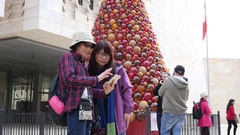 Valletta, Malta - asian chinese tourists walk the city in Christmas time Stock Footage