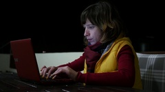 Woman freelancer work type laptop computer keyboard at home night terrace Stock Footage