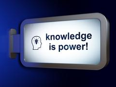 Learning concept: Knowledge Is power! and Head With Lightbulb on billboard Stock Illustration