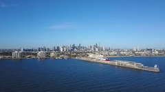 4k aerial video of Port Melbourne and view of skyline in CBD Stock Footage