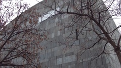 MUMOK, famous Museum of Modern Art behind leafless trees. Popular touristic Stock Footage