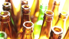 Empty bottles, the top view, small depth of sharpness Stock Footage