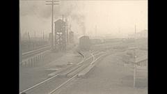 Vintage 16mm film, 1930 Railroad, Boston and Maine locomotive shunting cars Stock Footage