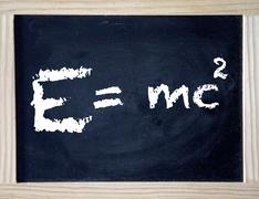 Emc , Einstein theory of relativity written on black board Stock Photos