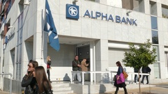 4K Alpha bank automate money machine in Downtown Athens Greece Europe Stock Footage