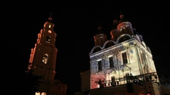 A religious mapping light show in a typical Russian town Stock Footage
