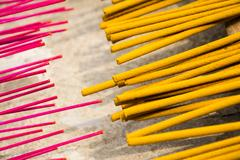 Incense sticks for traditional spiritual Buddhist burning in Vietnam Stock Photos