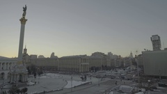 Kyiv. Ukraine. Independence square in the winter. The architecture of the city. Stock Footage