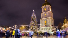 Christmas tree in the capital of Ukraine Stock Footage