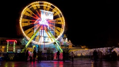 Festive area. children's attractions Stock Footage