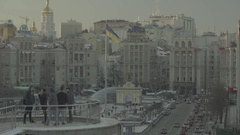 Kiev in the winter. Ukraine. The Independence Square. The Flag Of Ukraine Stock Footage