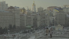 Architecture Of Kiev. The Independence Square.Ukraine. Winter Stock Footage