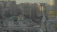 Kiev in the winter . The center of the city. The Independence Square. Stock Footage