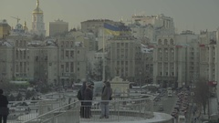 Kiev in the winter. Ukraine. The Independence Square. Stock Footage