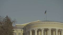 Ukrainian flag on the roof of the building. The center of the city. Kiev Stock Footage