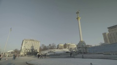"""Kiev. The center of the city in the winter. The Independence Square . """"Maidan"""" Stock Footage"""
