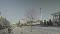 Ukraine. Kiev. The Independence Square. City skyline in winter Stock Footage