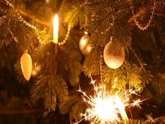 Sparkler burning on a christmas tree Stock Footage
