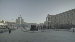 Kiev. The center of the city. The Independence Square. The General Plan Stock Footage