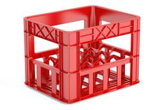 Empty red plastic storage box, crate for bottles. 3D rendering Stock Illustration
