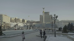 The city skyline of Kiev in the winter. The Independence Square. Winter Stock Footage