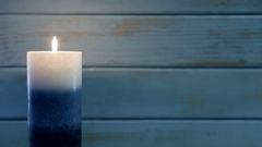 Blue Urban Wood Holiday Candle Stock Footage
