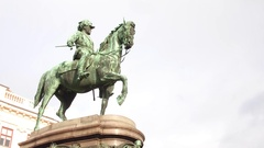 VIENNA, AUSTRIA - DECEMBER, 24 Statue of Archduke Albrecht outside the Albertina Stock Footage