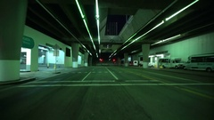 Driving Plates Tunnels at Night 06 Rear View of LA Downtown at Grand Ave Tunnel Stock Footage