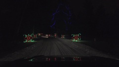 Driving at christmas light festival at night 4k Stock Footage