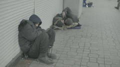 Homeless in the underpass Stock Footage