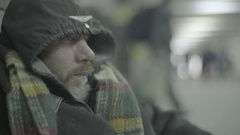 Homeless beggar man Stock Footage